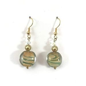 Olive Green/Tan/Gold~Crystal~Earrings